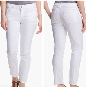 Eileen Fisher white skinny ankle length jeans